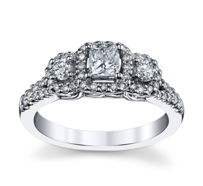 utwo 14k white gold diamond engagement ring 34 cttw - 3 Stone Wedding Rings