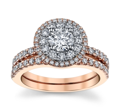 utwo 14k two tone diamond wedding set 1 13 cttw - Designer Wedding Rings