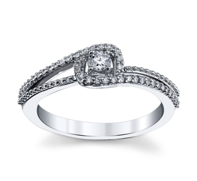Cherish 14K White Gold Diamond Engagement Ring 1/4 cttw