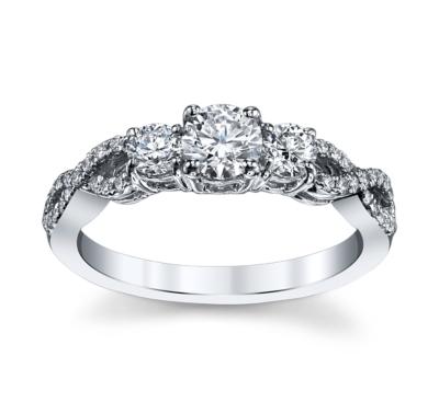 utwo 14k white gold diamond engagement ring 34 cttw - Designer Wedding Rings