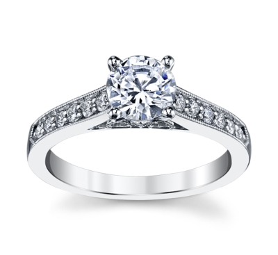 peter lam luxury 14k white gold diamond engagement ring setting 14 cttw - Luxury Wedding Rings