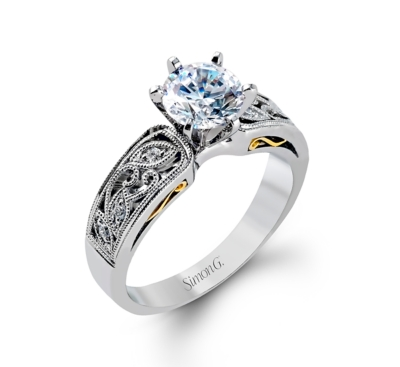 simon g 18k two tone diamond engagement ring setting 07 cttw