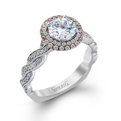simon g 18k two tone diamond engagement ring setting 12 cttw - Designer Wedding Rings