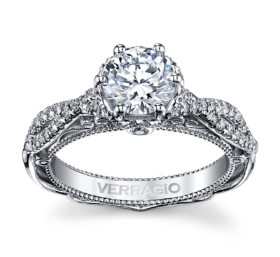 Verragio 18k White Gold Diamond Engagement Ring Setting 1/3 cttw