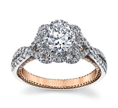 Verragio 18K Two Tone Diamond Engagement Ring Setting 5/8 cttw