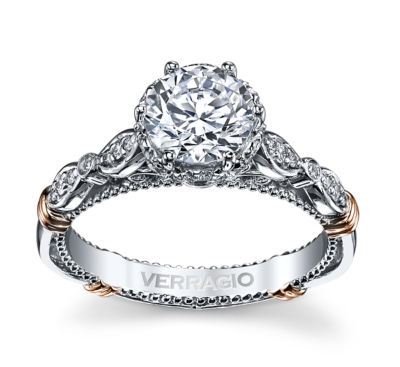 Verragio 14K Two Tone Diamond Engagement Ring Setting 1/5 cttw