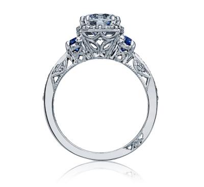 ... Tacori Platinum Cadillac Blue Sapphire Diamond Engagement Ring Setting  1/4 cttw