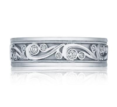 tacori 18k white gold 7 mm diamond wedding band 38 cttw - Mens Diamond Wedding Ring