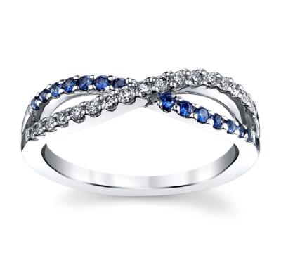 right hand 14k white gold blue sapphire diamond wedding band 16 cttw - Ladies Wedding Rings