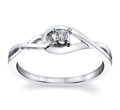 Cherish 14K White Gold Promise Ring .04 cttw