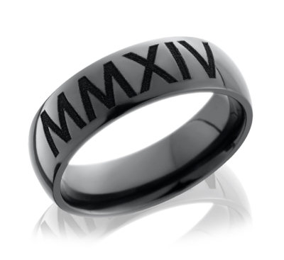 elysium 8 mm roman numeral wedding band - Fancy Wedding Rings