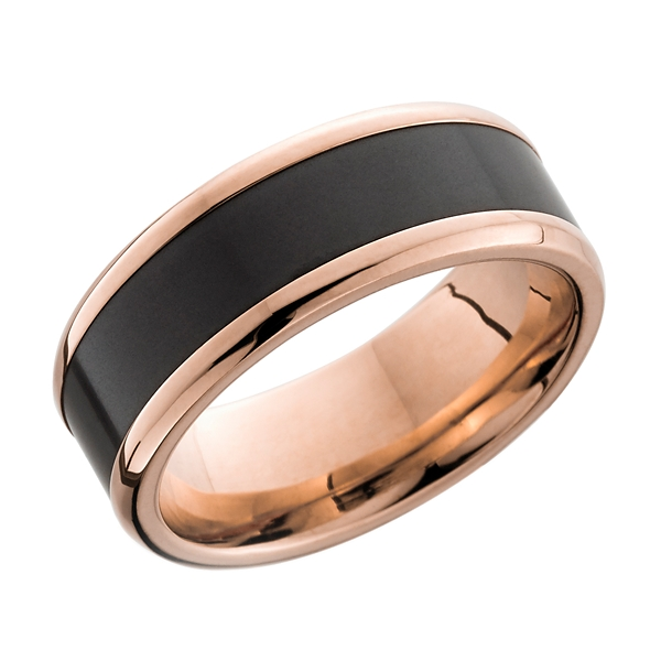 14k rose gold and elysium 8 mm wedding band - Mens Gold Wedding Ring