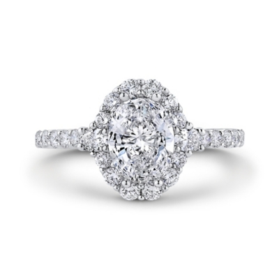 expressions 14k white gold diamond engagement ring setting 34 cttw - Halo Wedding Rings