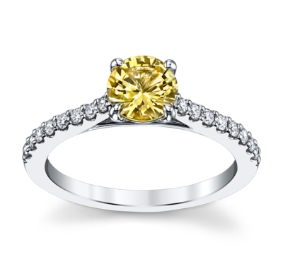 blossom bridal 14k white gold yellow sapphire diamond engagement ring 15 cttw - Classic Wedding Rings