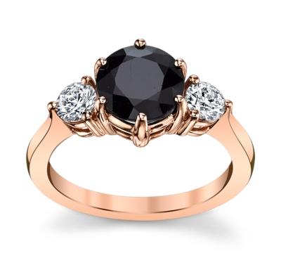 blossom bridal 14k rose gold blue sapphire diamond engagement ring 38 cttw - Classic Wedding Rings