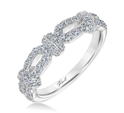 karl lagerfeld 18k white gold diamond wedding band 12 cttw - Ladies Wedding Rings