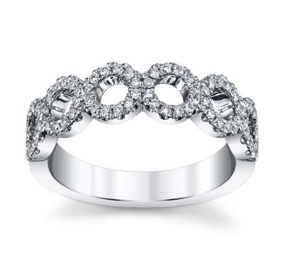 henri daussi 18k white gold diamond wedding band 13 cttw - Ladies Wedding Rings