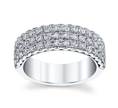 henri daussi 14k white gold diamond wedding band 1 14 cttw - Ladies Wedding Rings
