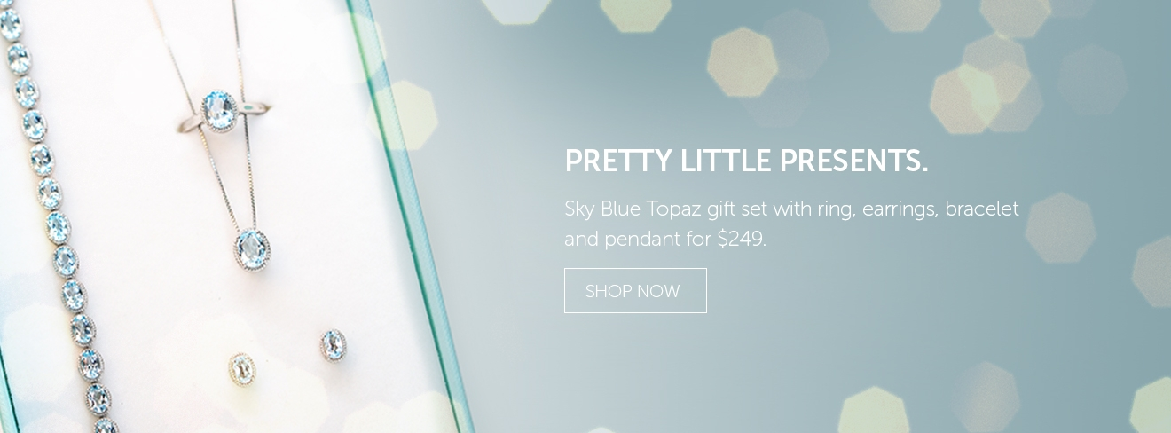 Pretty Little Presents. Sky Blue Topaz Gift Set with Ring, Earings, Bracelet and Pendant for $249.