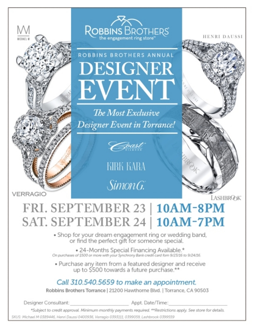 Designer Event at Robbins Brothers Torrance
