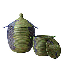 Senegalese Storage Baskets - Navy/Green