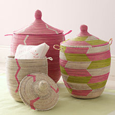 Senegalese Storage Baskets - Pink
