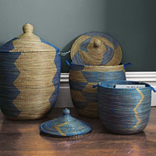 Senegalese Storage Baskets - Blue