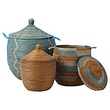 Senegalese Storage Baskets - Aqua/Orange