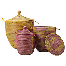 Senegalese Storage Baskets - Pink/Yellow