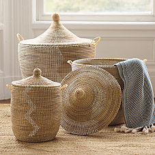Senegalese Storage Baskets - White/Light Peach