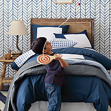 Navy Color Frame Duvet & Shams