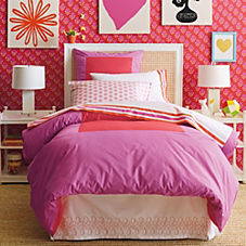 Color Frame Duvet Cover & Shams – Watermelon/Violet