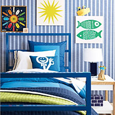 Color Frame Duvet Cover & Shams – Navy/Cobalt