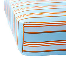 Aqua/Orange Club Stripe Crib Sheet