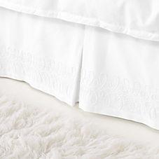 Swirl Appliqué Bedskirt – White