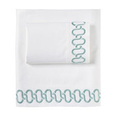 Savoy Links Embroidered Sheet Set – Aqua