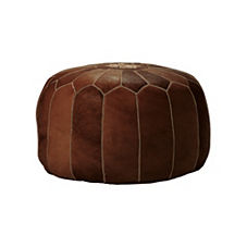 Moroccan Leather Pouf – Tan