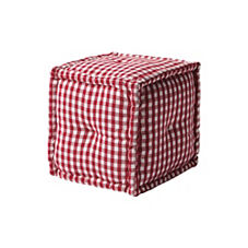 Square Gingham Pouf - Red