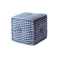 Square Gingham Pouf - Navy