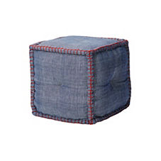 Square Gingham Pouf – Denim
