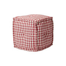 Square Gingham Pouf – Strawberry Jam