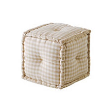 Square Gingham Pouf – Oatmeal