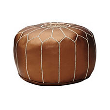Moroccan Leather Pouf – Bronze