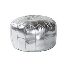 Moroccan Leather Pouf – Silver