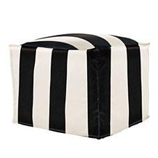 Sundial Ottoman – Black/White Awning Stripe