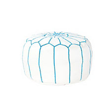 Moroccan Leather Pouf – White/Turquoise