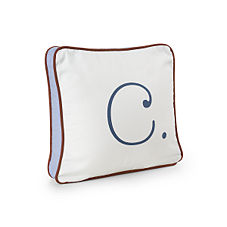 Chocolate/Indigo Typewriter Letter Pillow