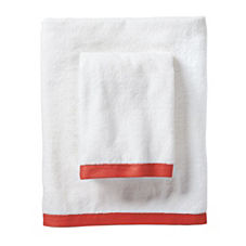 Coral Border Frame Bath Towels