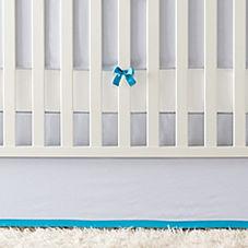 Banded Linen Crib Skirt – Chambray/Cyan