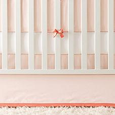 Banded Linen Crib Skirt – Shell/Grapefruit